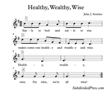Proverb Healthy Wealthy Wise Choral Round for Teaching Singing Classroom Warm Ups