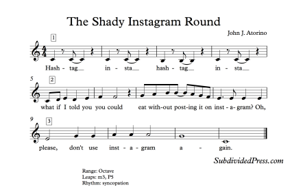 Shady Instagram Choral Round for Teaching Singing Classroom Warm Ups