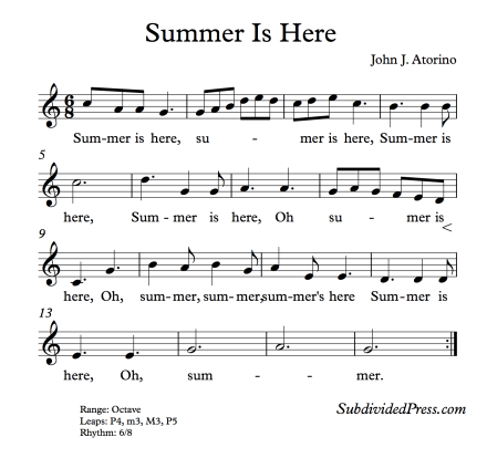 Summer Choral Round for Teaching Singing Classroom Warm Ups