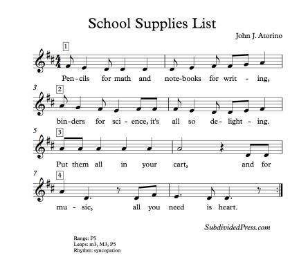 Music School Supplies Back to School Round Singing Choir