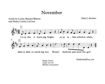 November Choral Music Singing Round Thanksgiving