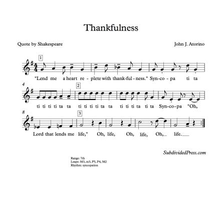 Shakespeare Choral Music Singing Round Thankfulness Thanksgiving