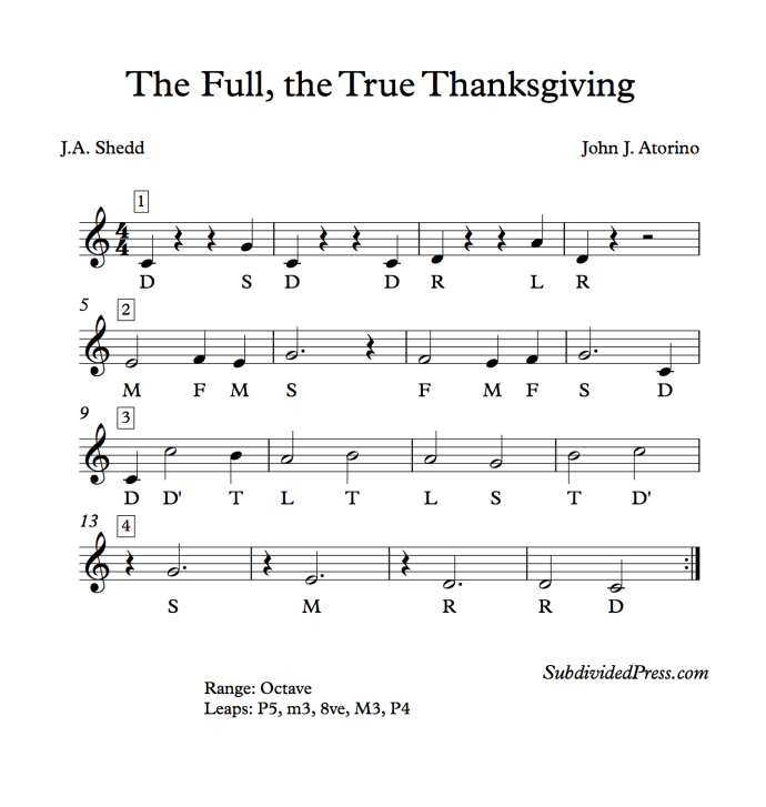 The Full The True Thanksgiving Solfege