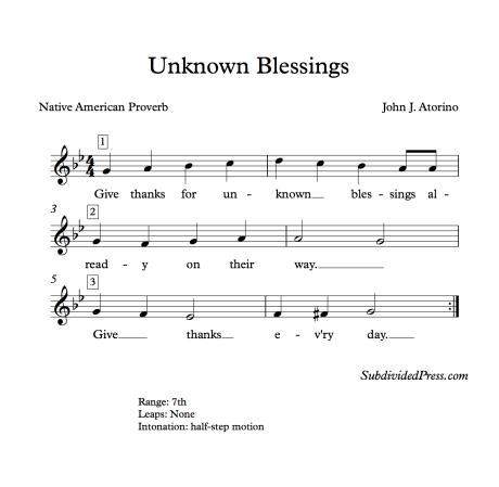 Thanksgiving Choral Music Harmonic Minor Singing Round