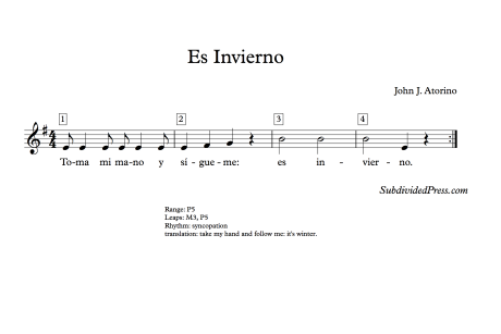Spanish Winter Invierno Choral Music Singing Round