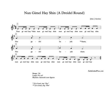 Hebrew Hanukkah Dreidel Singing Choral Music Round