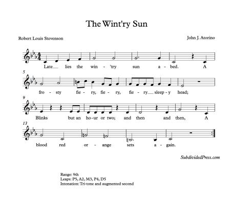 Winter Choral Music Harmonic Minor Round Stevenson