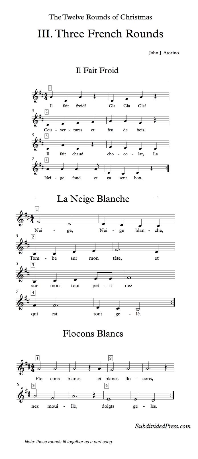 choral music french singing round