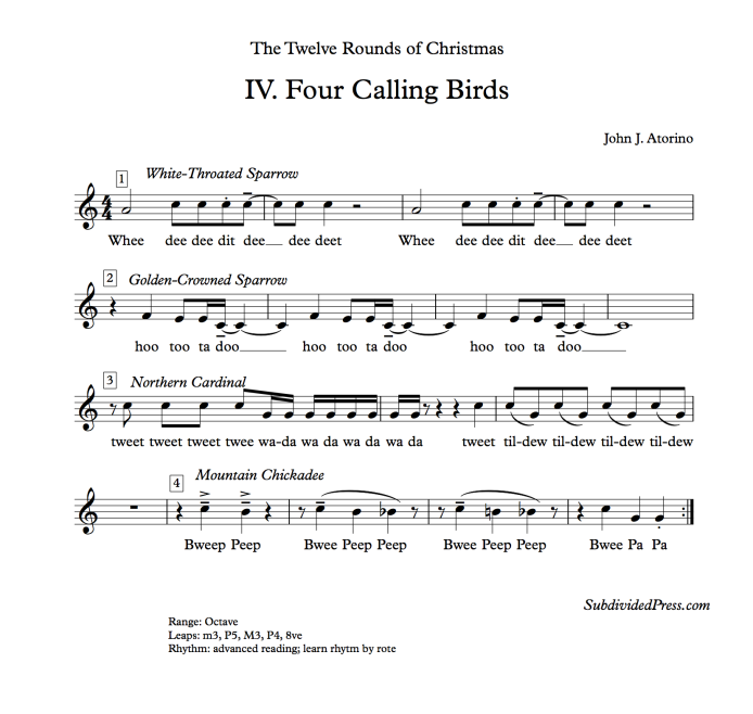 winter choral music birds singing rounds