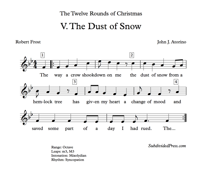 robert frost snow winter choral music mixolydian singing round