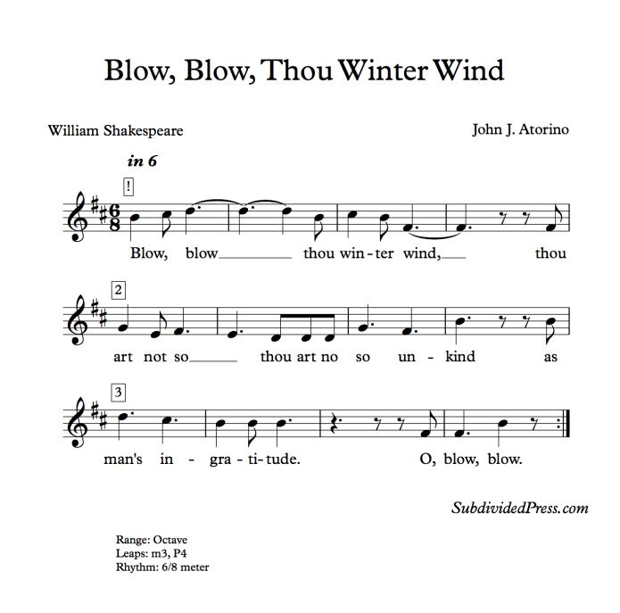 shakespeare winter choral music singing round