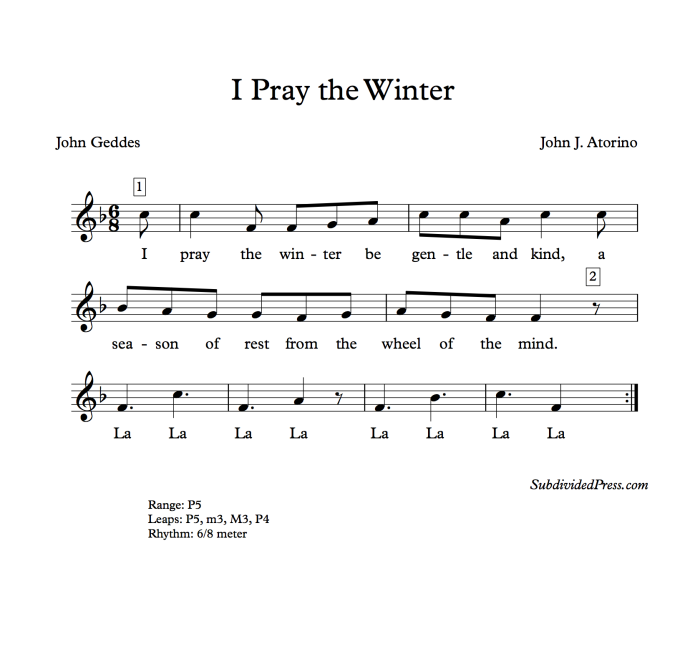 winter choral music singing round