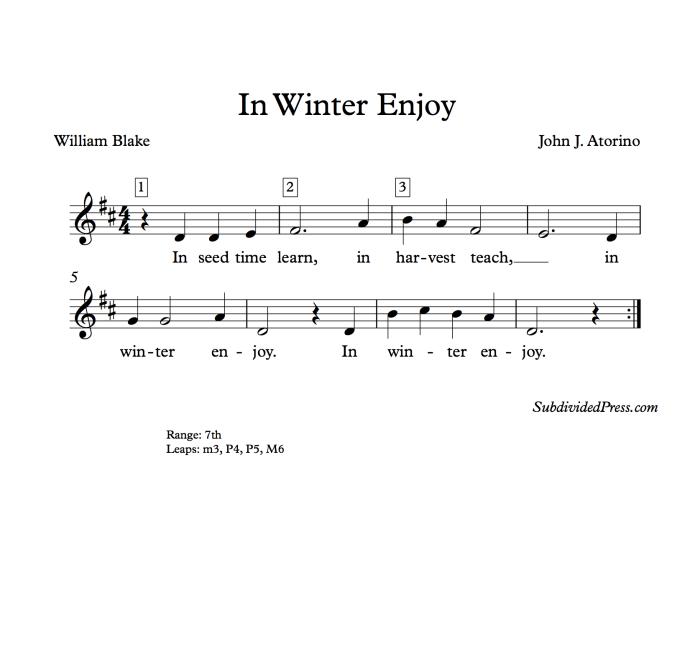 winter choral music singing round william blake
