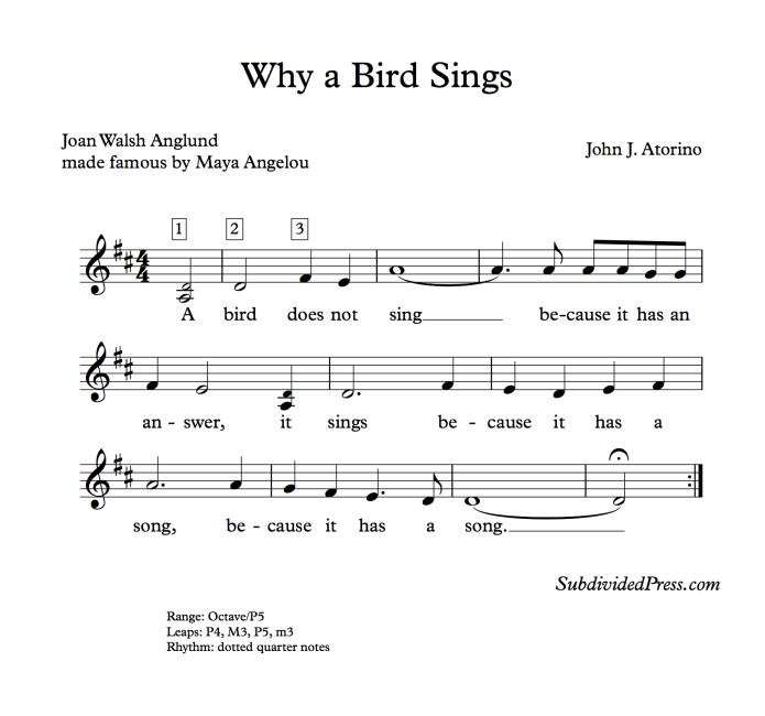 maya angelou bird choral music singing round