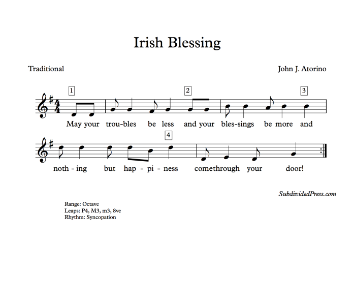 st patrick's day song music choral round
