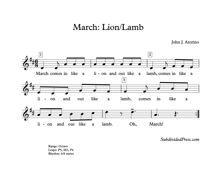 choral music singing round march lion lamb song