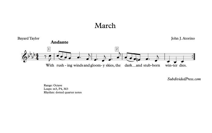 choral music singing march bayard taylor