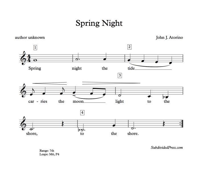 choral music singing round moon spring