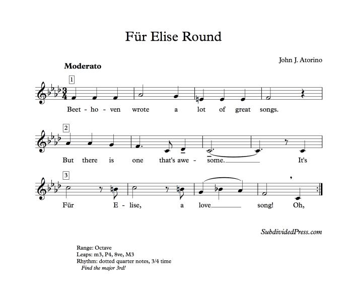 fur elise round beethoven song singing choral atorino