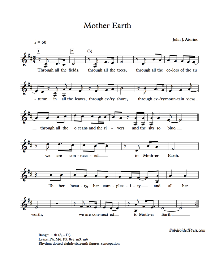 choral music singing earth day round song