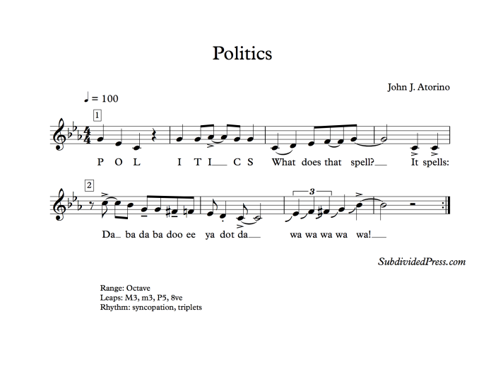 choral music singing round politics election song presidential